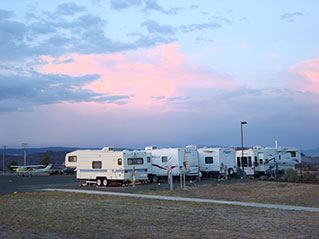 A line of parked campers