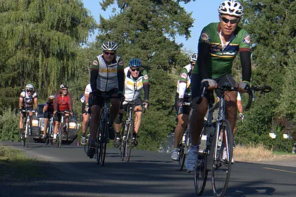 Several bicyclists during race